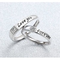 9288 Sterling Silver Love You Forever Couple Rings Adjustable Ring Best Gift