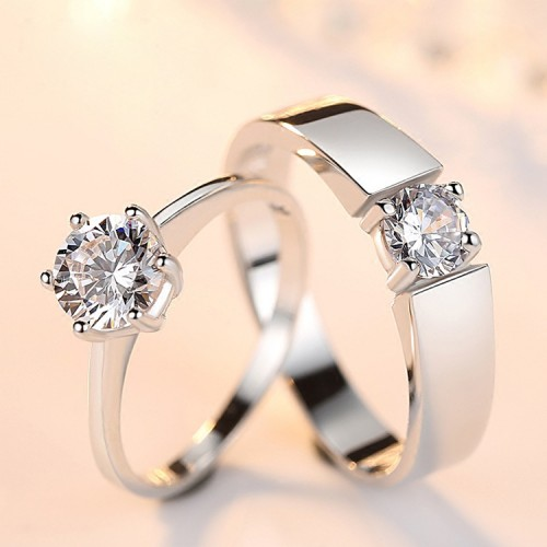 9292 simulation diamond men and women couple live mouth wedding ring silver-plated copper single diamond opening ring jewelry