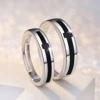 9297 Black and white cross male and female lovers copper silver plated adjustable openings jewelry