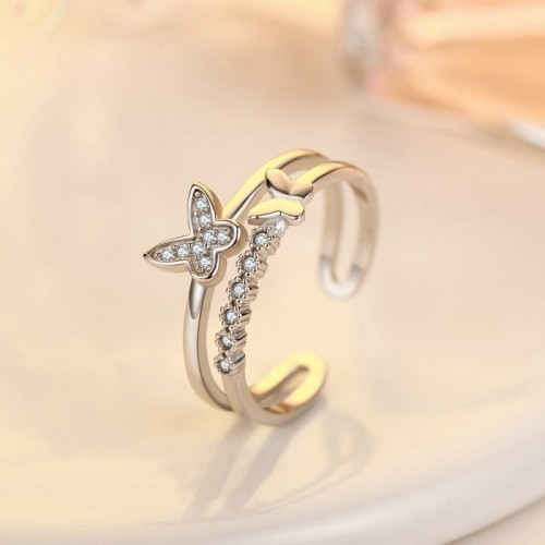 9304  BUTTERFLIES ADJUSTABLE DUAL AD RING