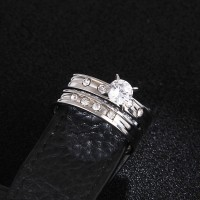 #9279 Stainless Steel Wedding Ring For Lovers IP SILVER Color Crystal CZ Couple Rings Set Men Women Engagement Wedding Rings