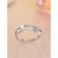 9305 SILVER LAYERED HEARTS ADJUSTABLE AD RING