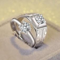 9315 Standard Sterling Silver Girlfriend Boyfriend Ring (Adjustable)